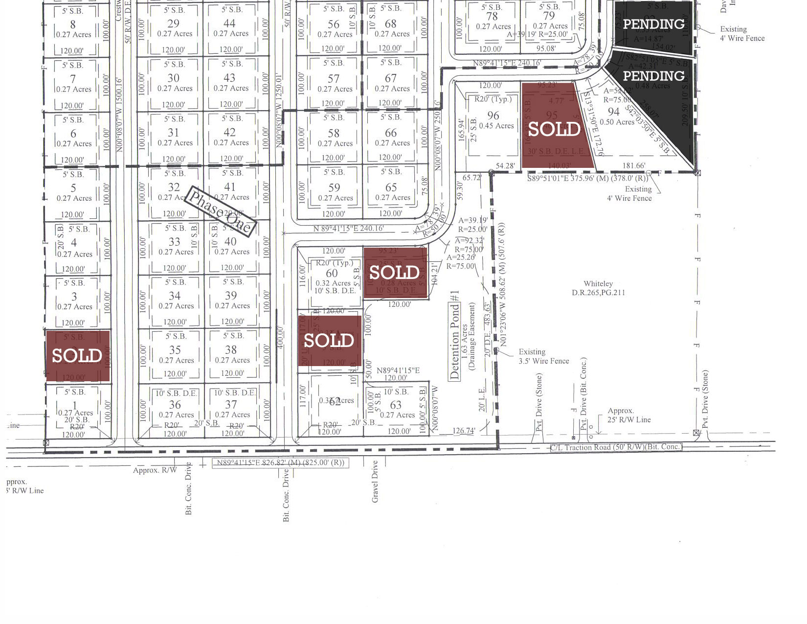 Map of available lots for the Diamond Ridge addition